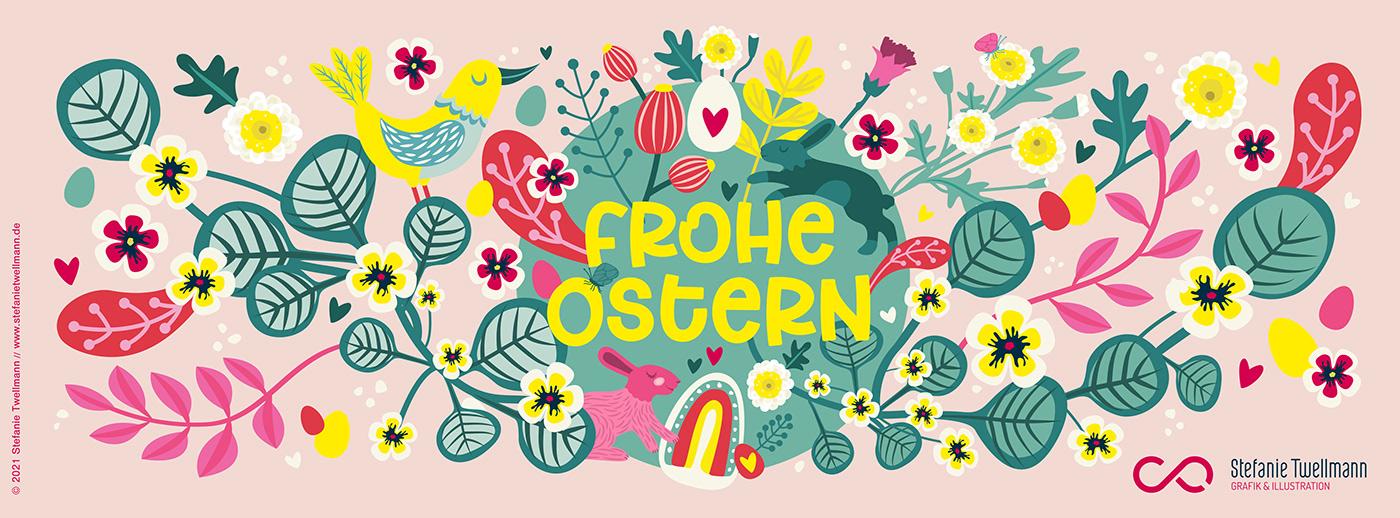 blumen,floral,Frühling,hase,ILLUSTRATION ,kartenillustration,Ostern,pastell,postkarte,Vektorillustration