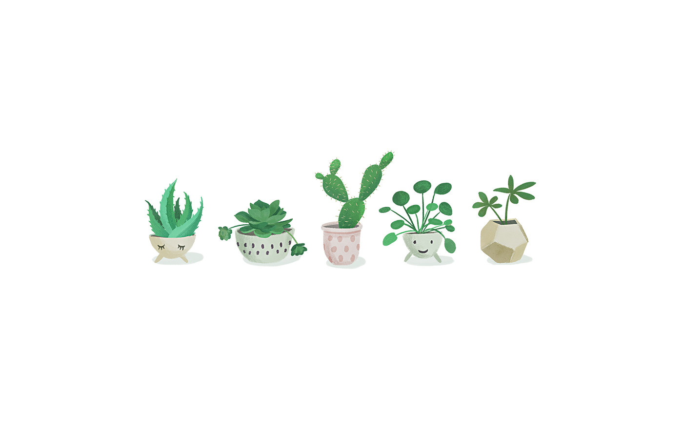 plants potted plants cactus Succulent green greenery garden pattern design  society6 botanical