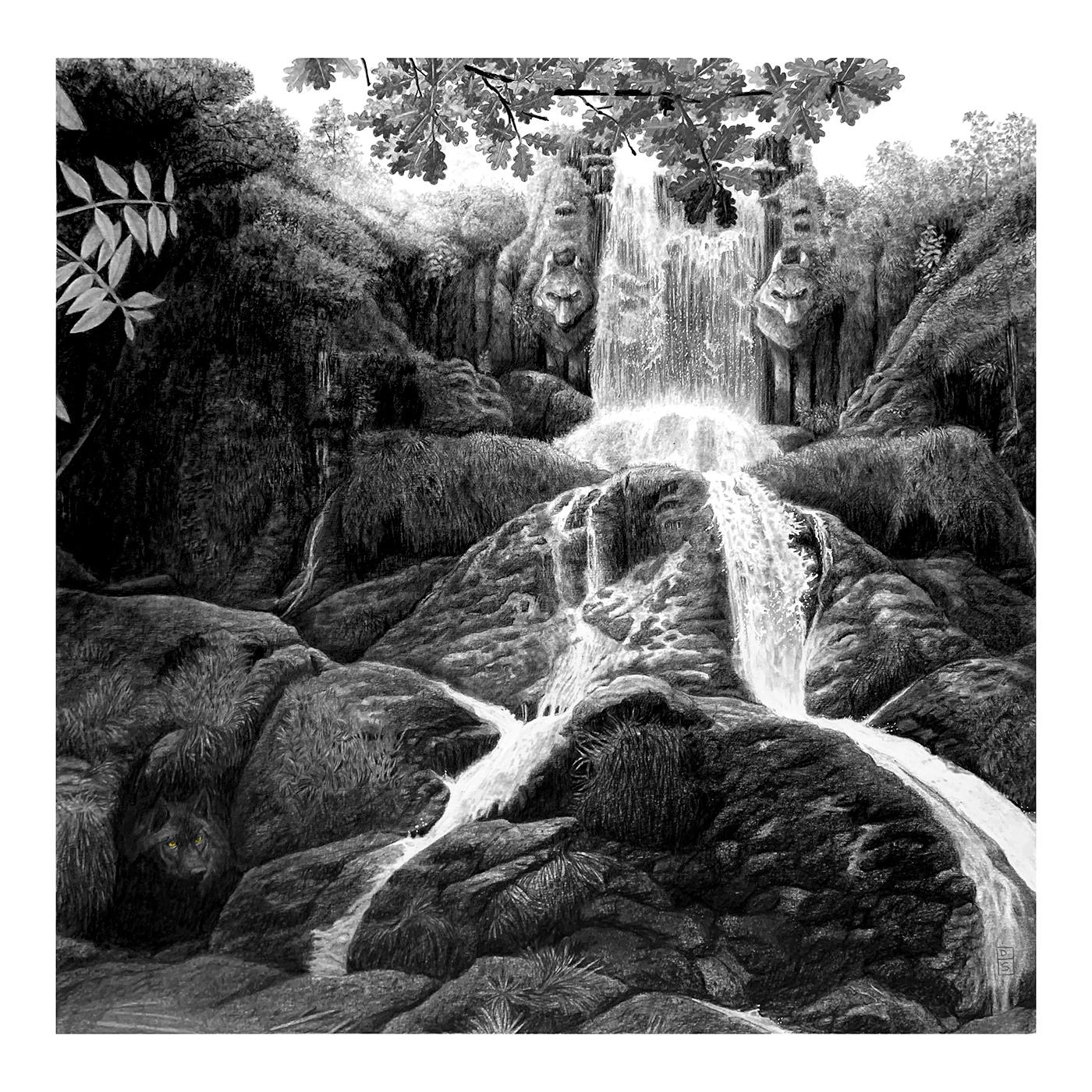 Drawing  Nature pencil waterfall wolf