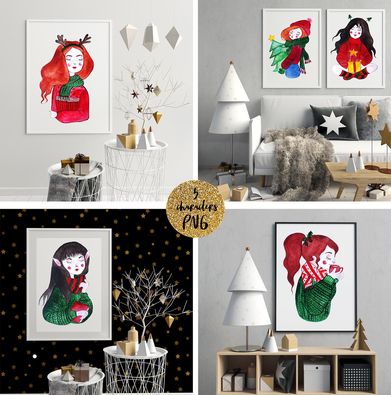 Christmas cozy watercolor set on behance malvernweather Gallery