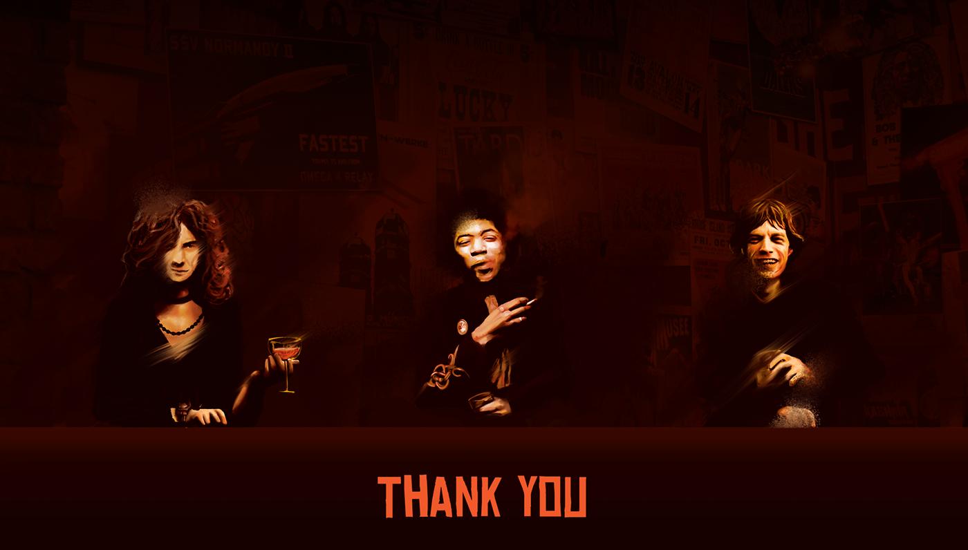 Kashmir branding  ILLUSTRATION  jimi Hendrix rock bar typography