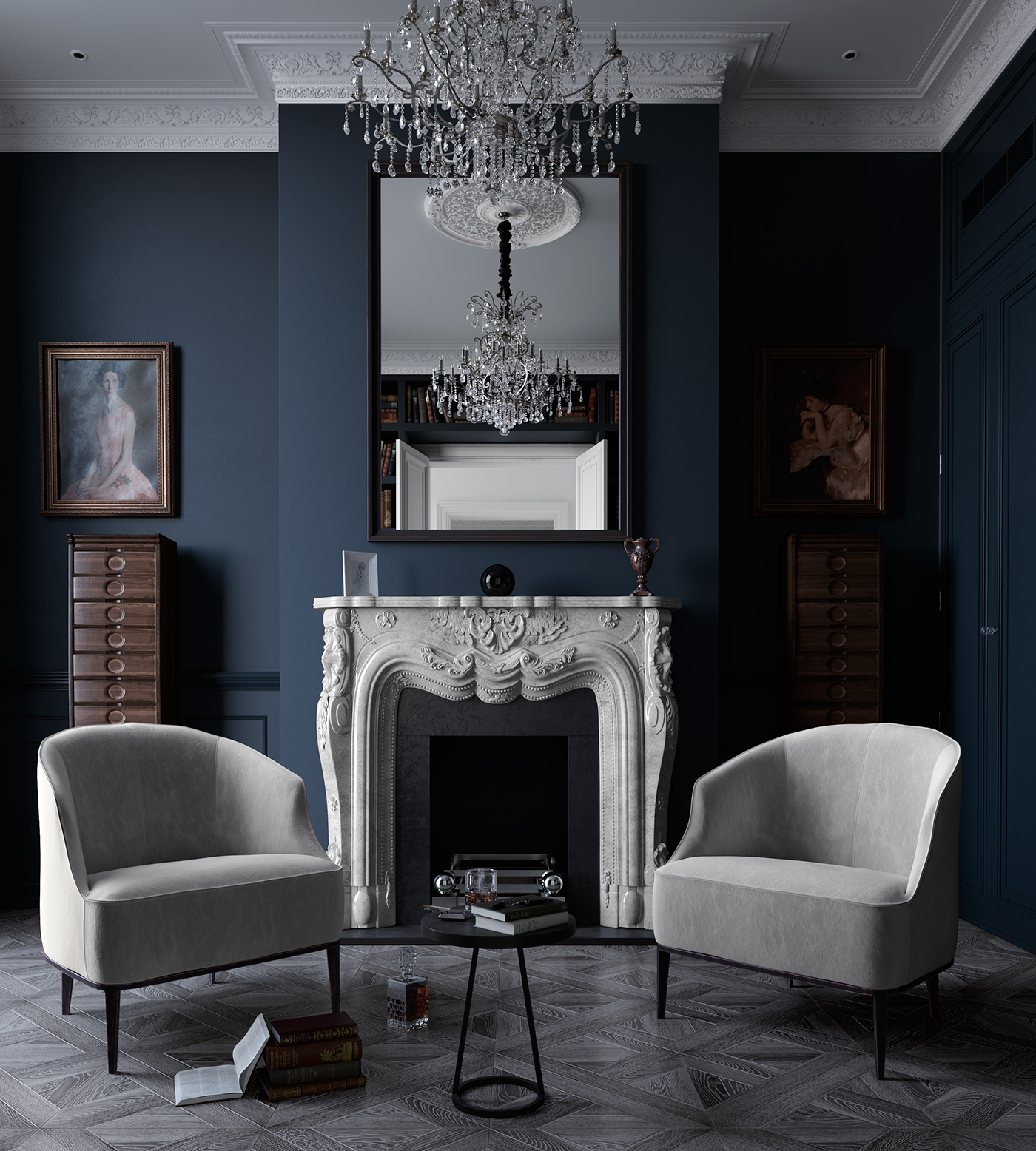 Neoclassical interior on Behance