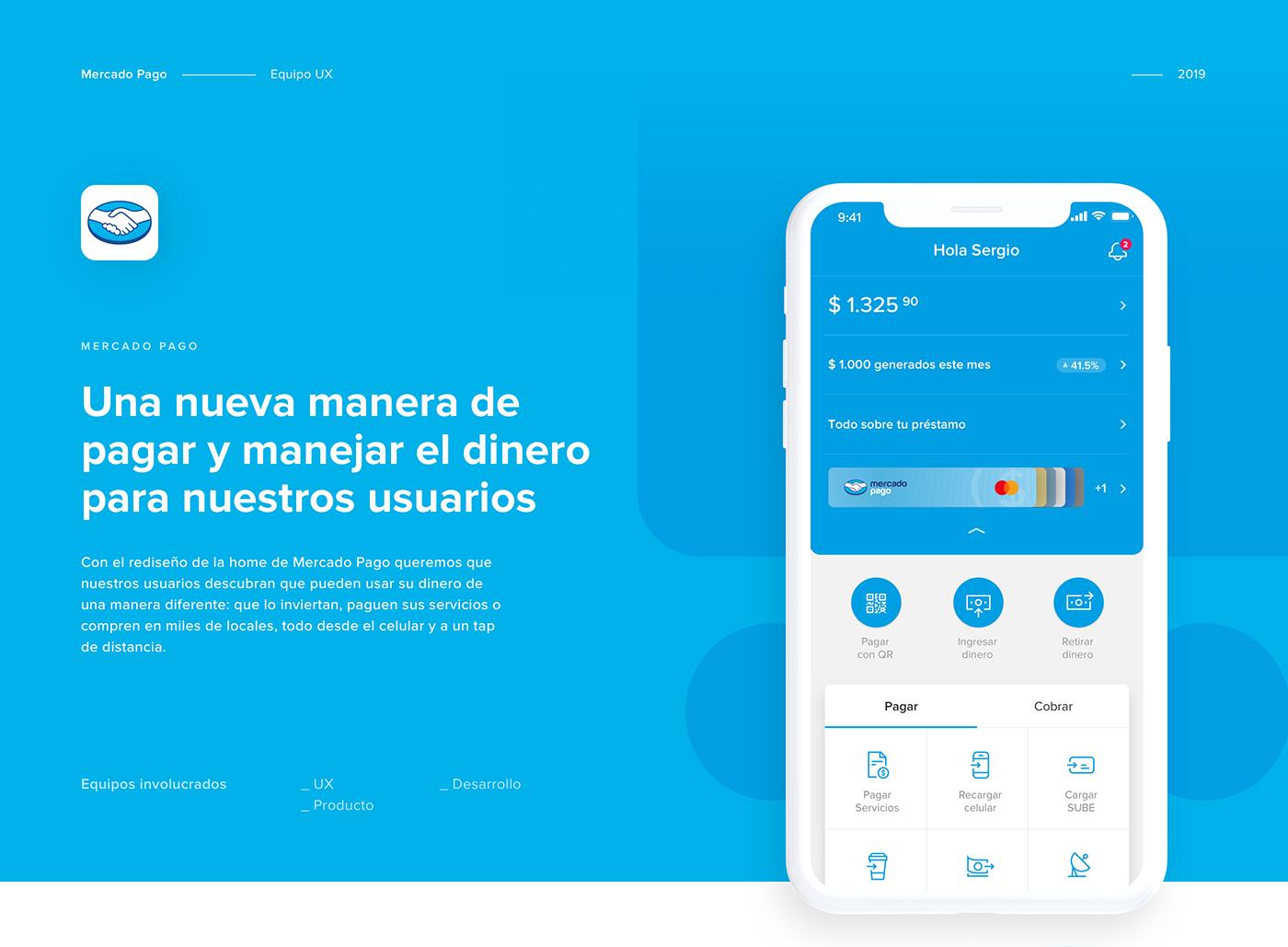 mercadopago Mercadolibre Fintech ux UI Usability graphic design  home app