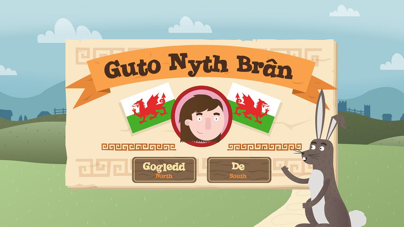 Welsh language guto runner educational app wales race words Guto Nyth Brân