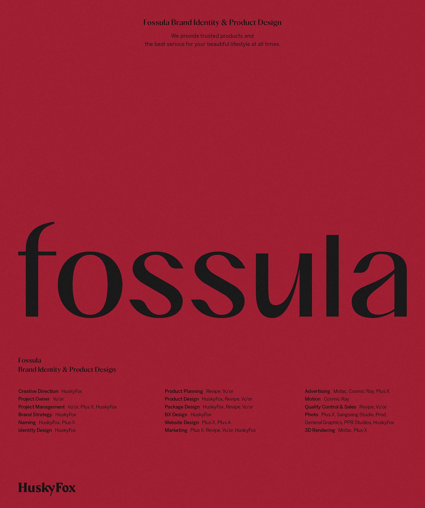 beauty BI brand branding  Cosmetic fossula huskyfox identity Packaging