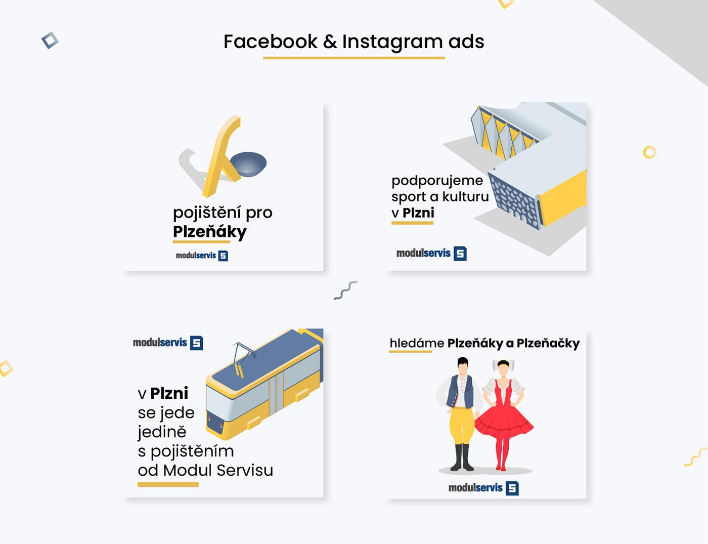 ads facebook graphic design  Illustrator instagram isometric illustration social media