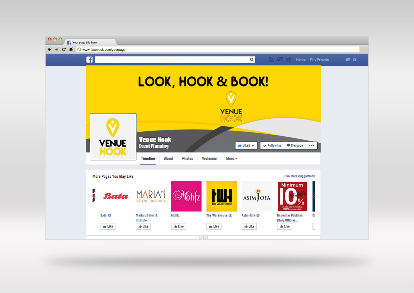 graphic design fb face book Website venue hook UI/UX Event