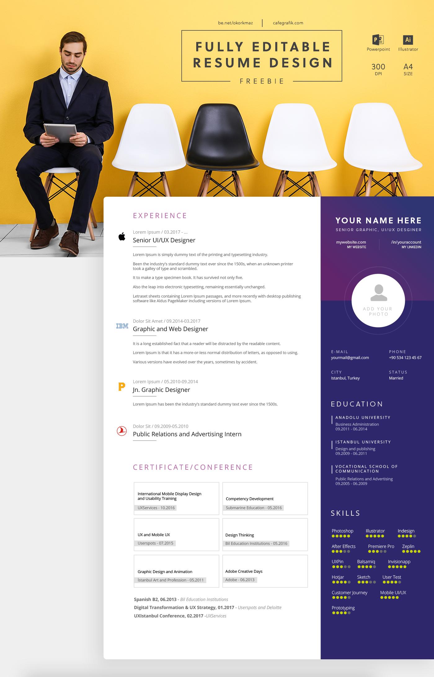 CV Resume free Illustrator Powerpoint template Theme print word Microsoft