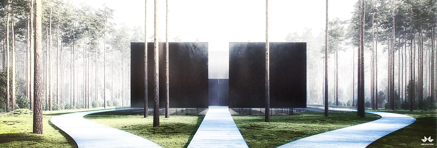 Memorial forest death ww2 black symmetry concrete water path holocaust poland world war dark tourism monument Archive