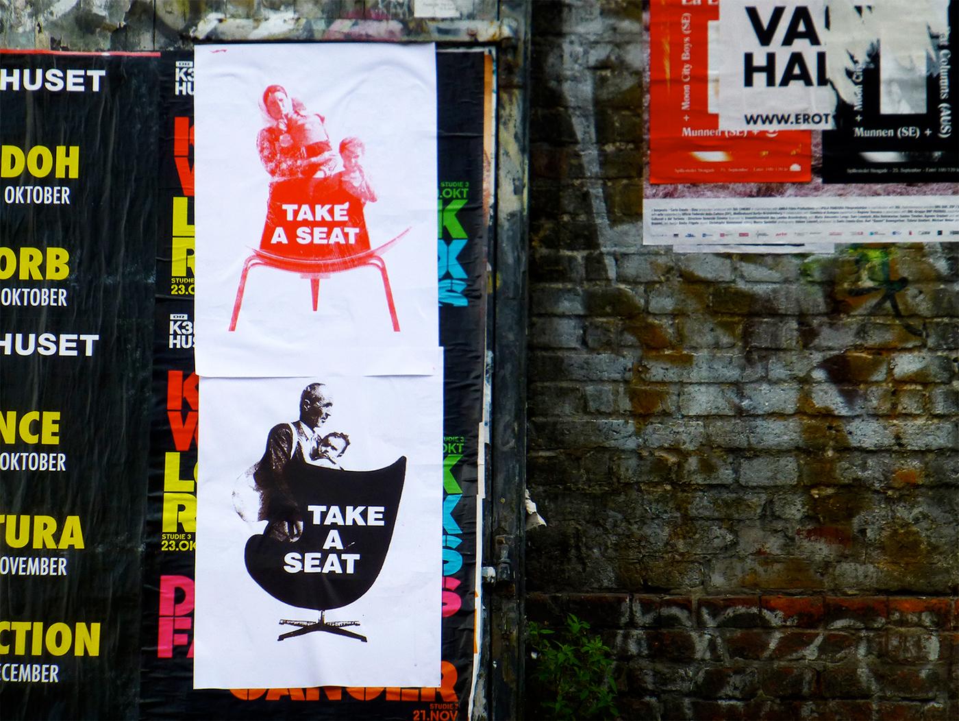 poster Danish Design furniture Scandinavian design political design Political posters screen print print copenhagen silkprint Take a Seat art prints wegner Refugees denmark