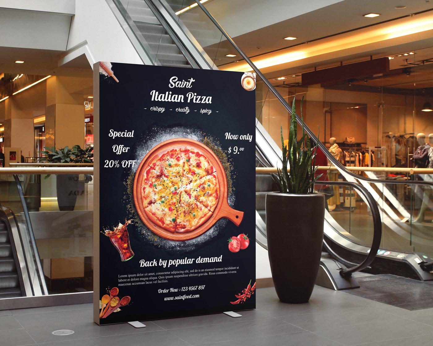flyer Food  poster resturent restaurant flyer food menu pizza flyer Free flyer mockup restaurant brochure business