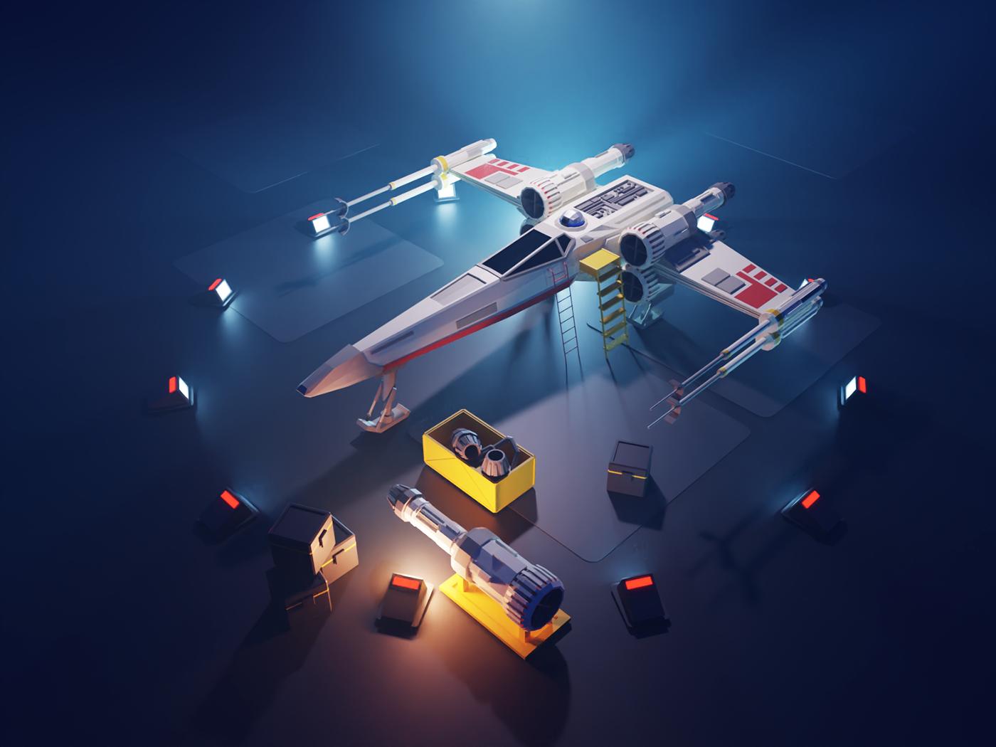 X-wing in the hangar