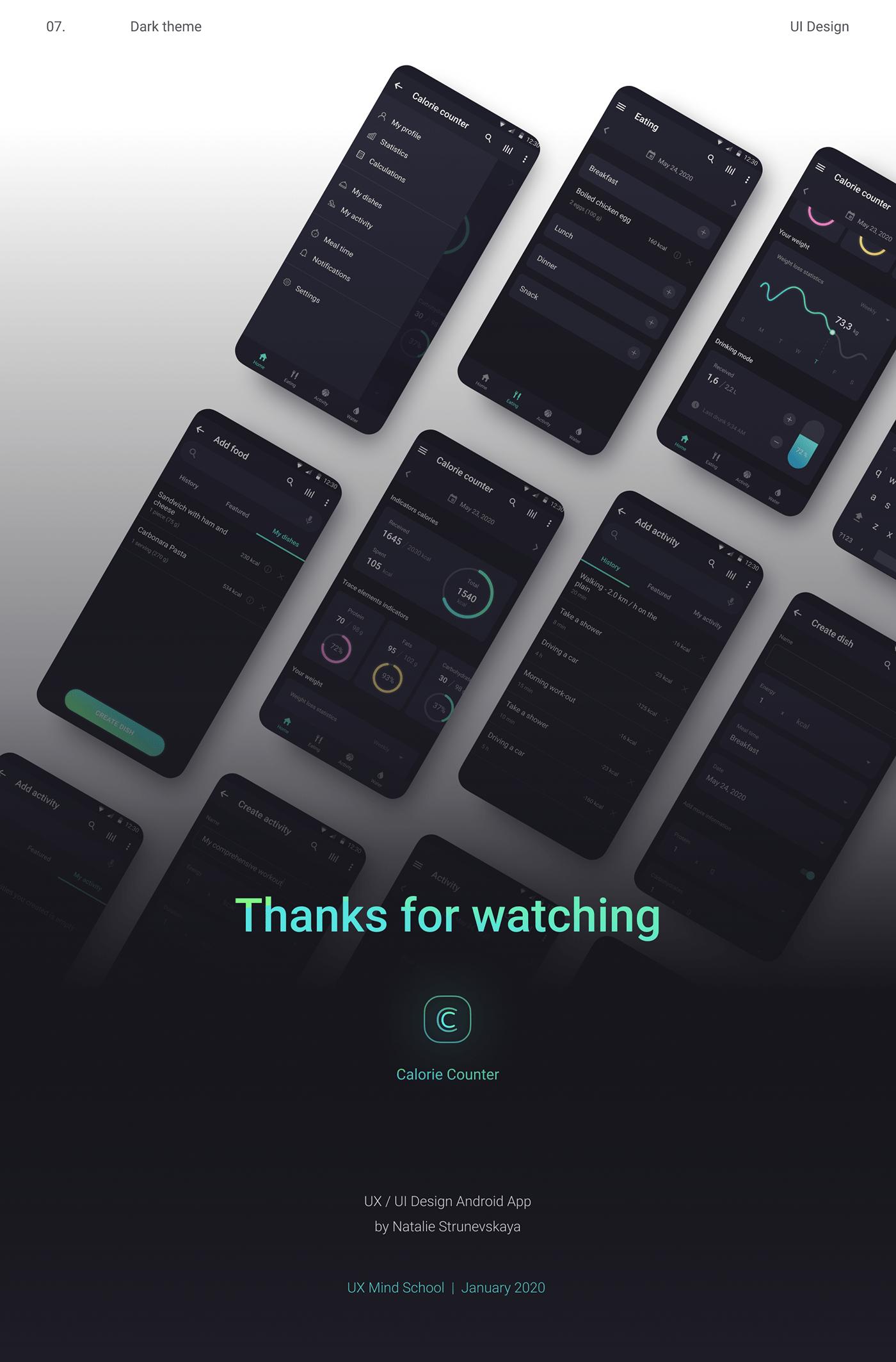 Mobile app android app ux UI calorie Interface dark theme UX / UI mobile app design