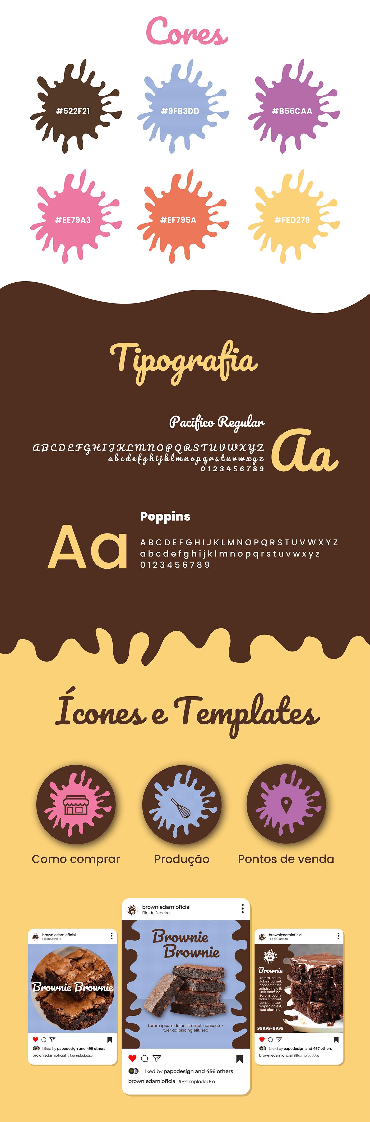 animação brownie chocolate design grafico identidade visual logo Mockup Redes Sociais rótulo