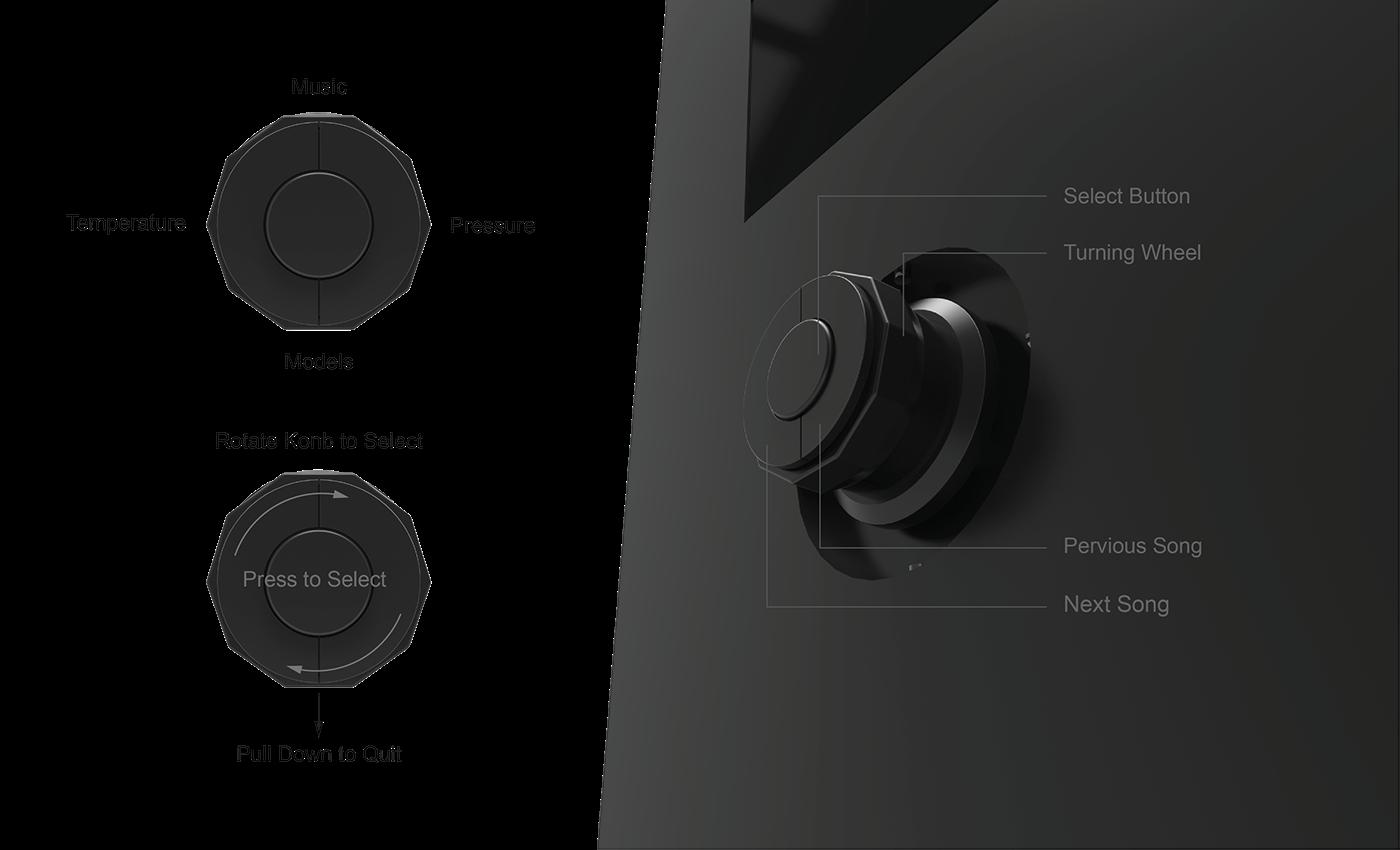 Smart Shower System interaction service drop application knob