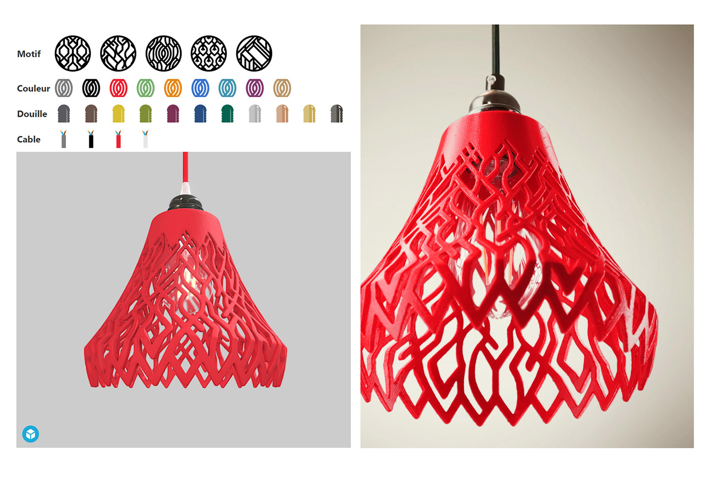 3d printed geometric pattern custom made impression 3D lampe lampshade led table set colored