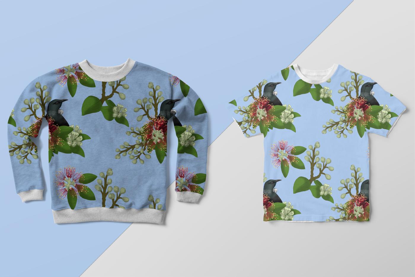 pattern,pattern design ,Tui,pohutuflowers,kiwiana,New Zealand