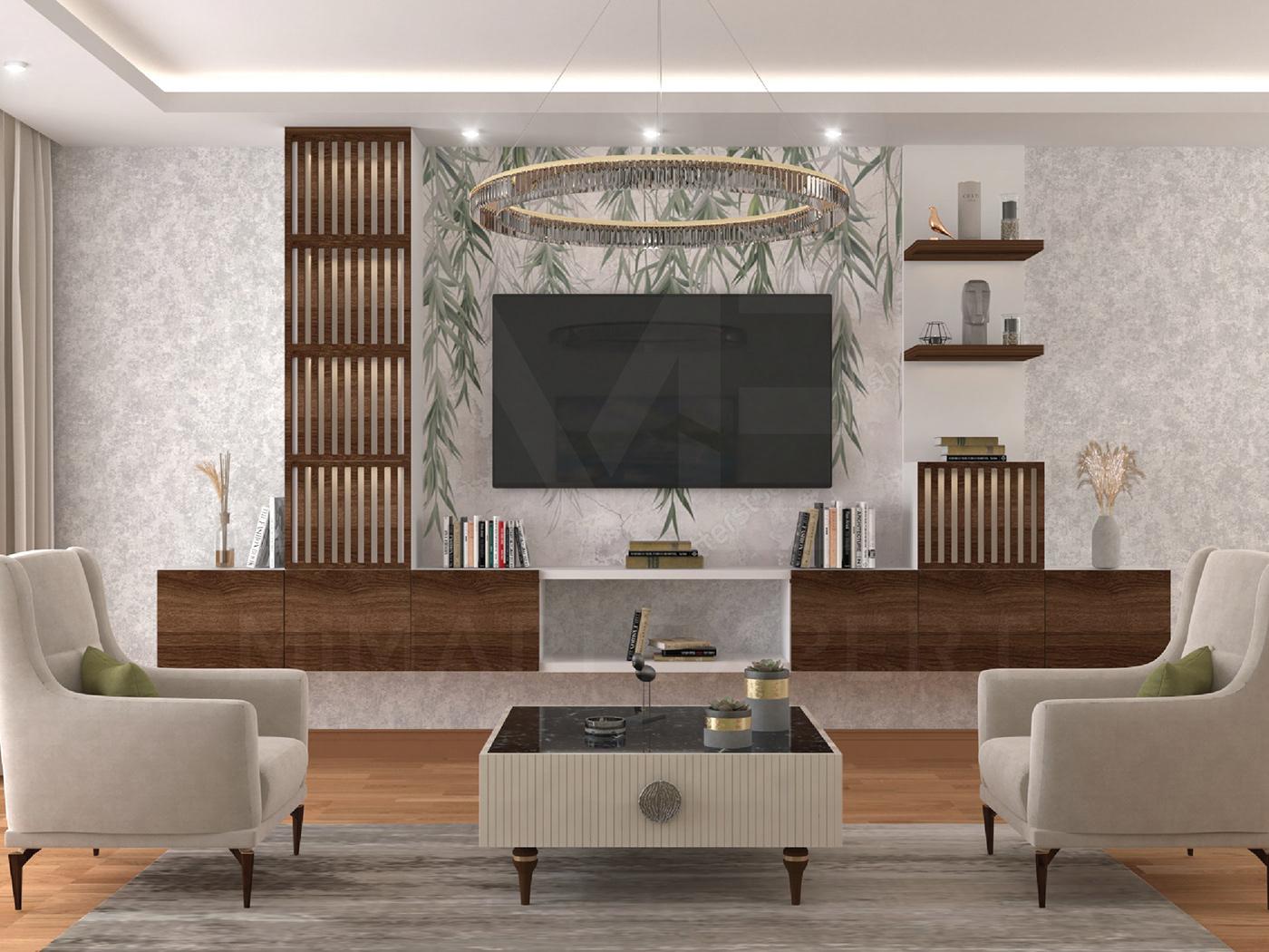 3D architecture decor decoration furniture home house Interior interior design  Render