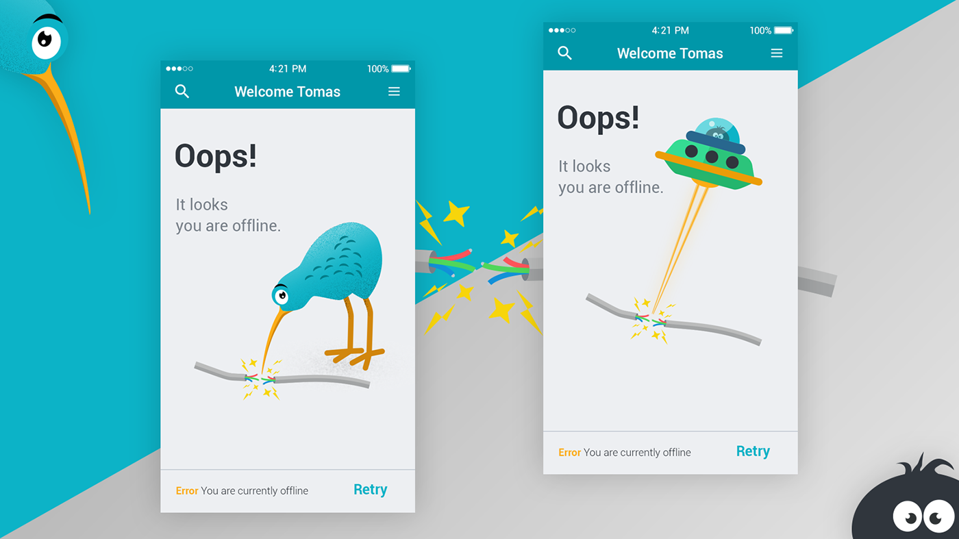 app mobile kiwi cute ILLUSTRATION  funny offline error