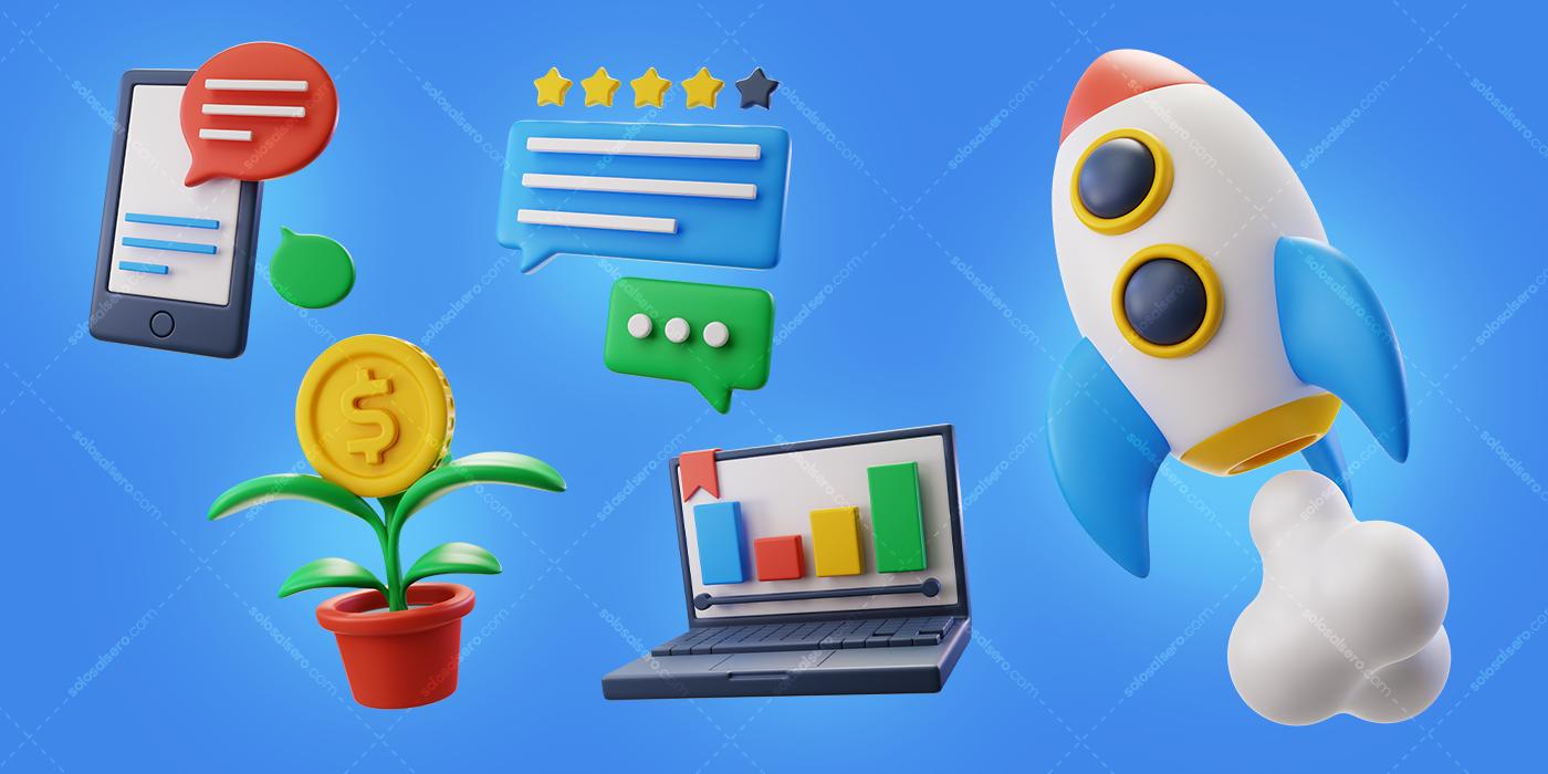 3D app color design graphic Icon solosalsero Web
