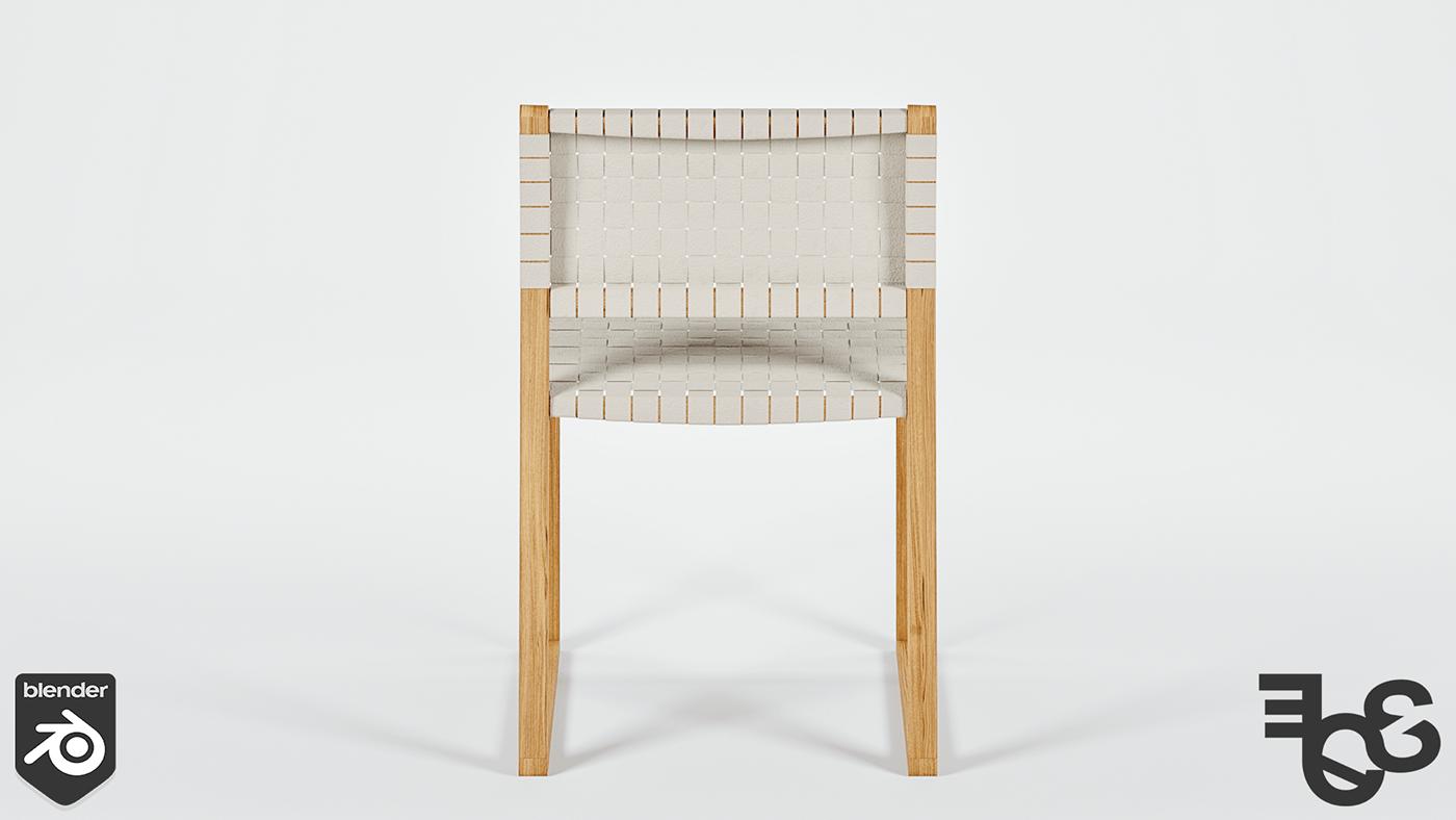 3D blender CGI chair concept design modeling product wood