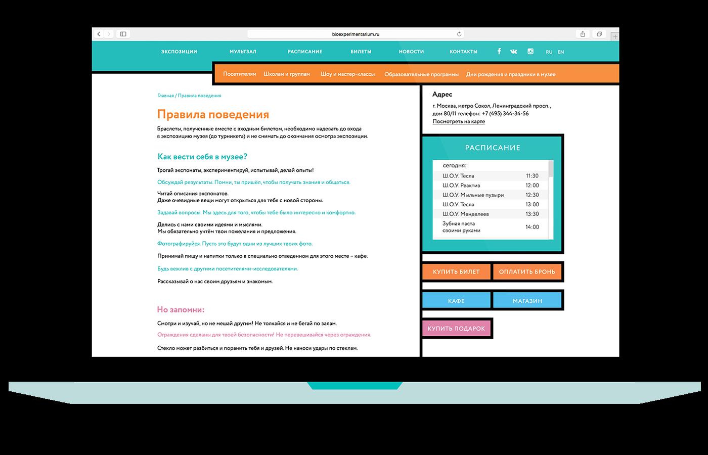 museum flat modern Web Adaptive biology science site digital interactive color man