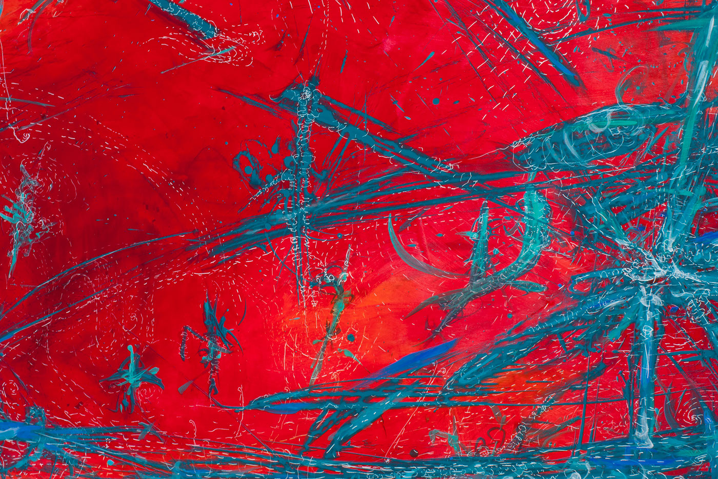 meditative colorful red and tuquoise Space  movement Movement Through Space