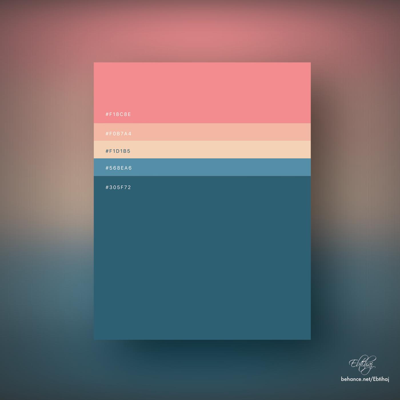 Colorful Minimalist Design: Minimalist Color Palettes 2018 On Behance