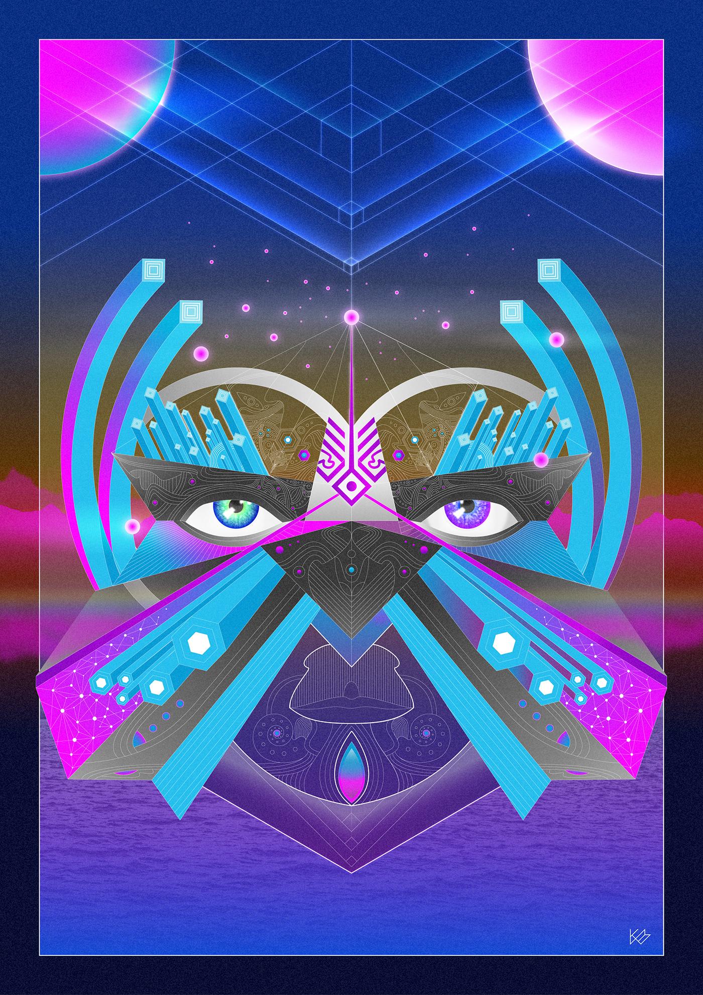 surrealism neon fantasy psychedelic dream patternwork 80's science fiction Digital Art  imagination