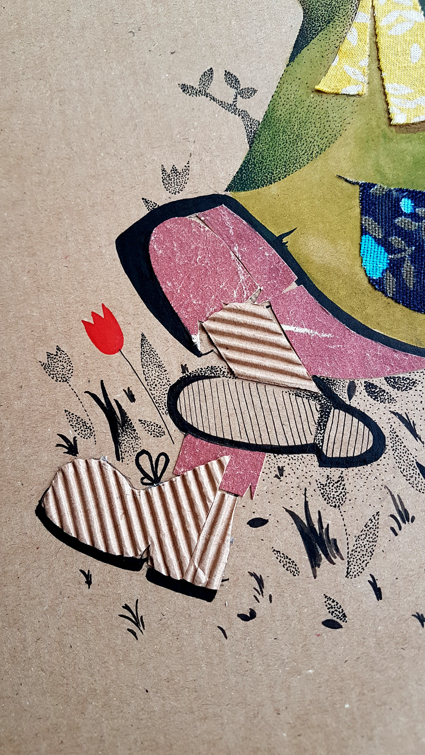 Snufkin moomin cartoon collage patchwork ILLUSTRATION  ink dotwork