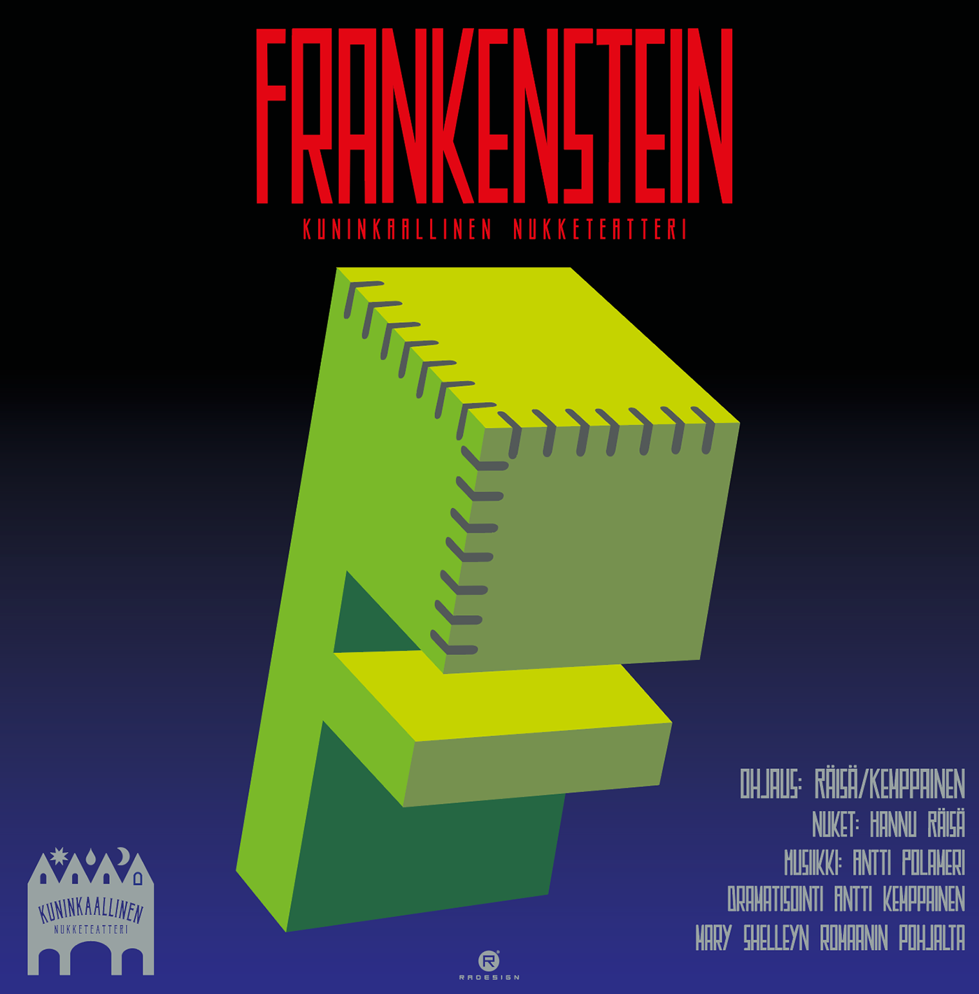Poster for puppet theatre play Frankenstein.