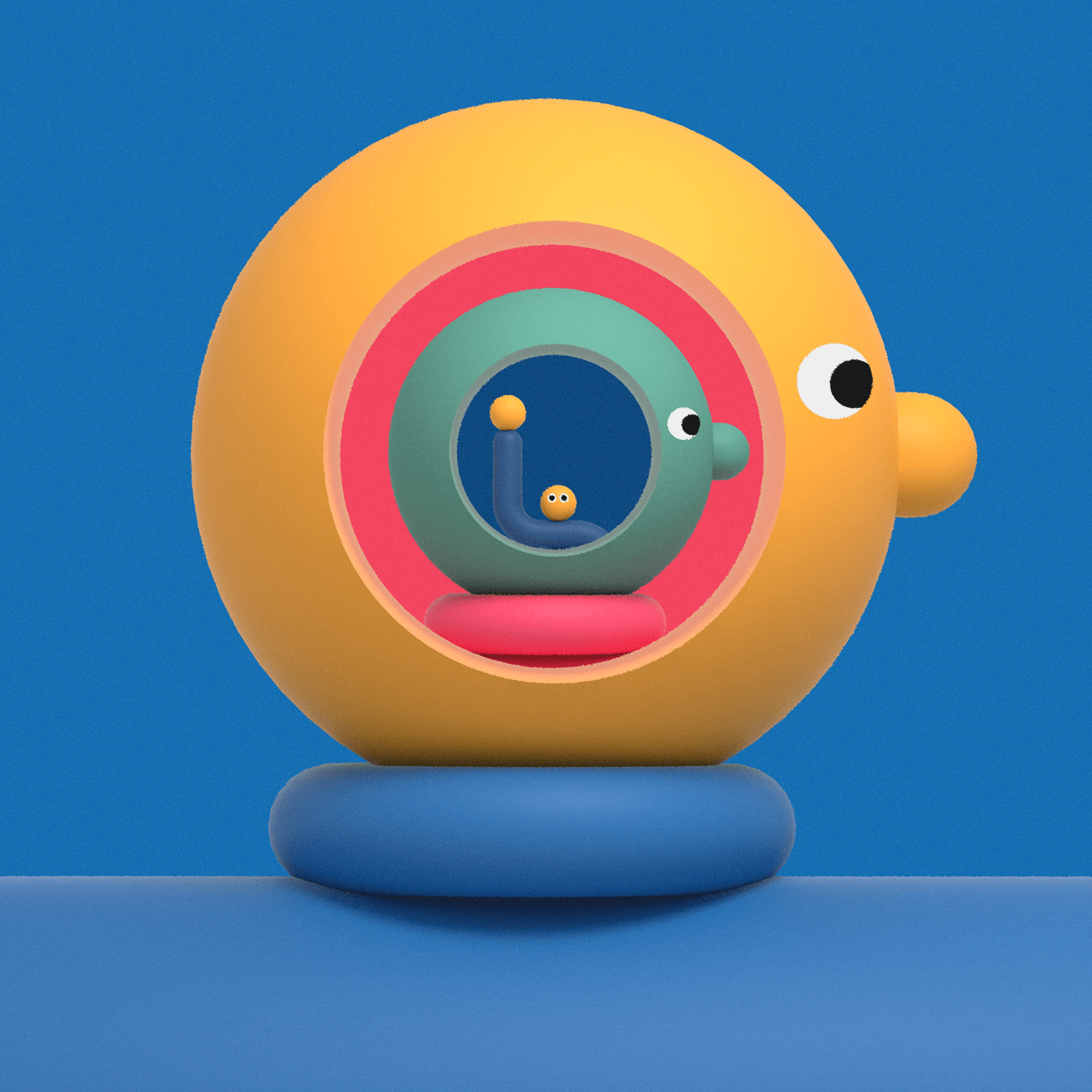 3D editorial ILLUSTRATION  minimal simple Character design Playful Primary colors
