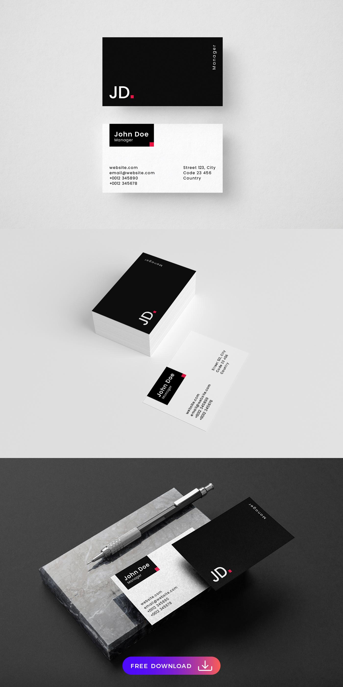 Minimalistic Dark Free Business Card Template