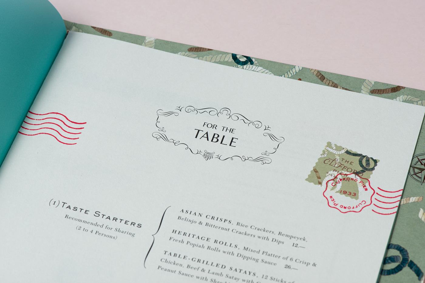 restaurant menu design Hospitality singapore foreign policy botanticals illustrations colonial