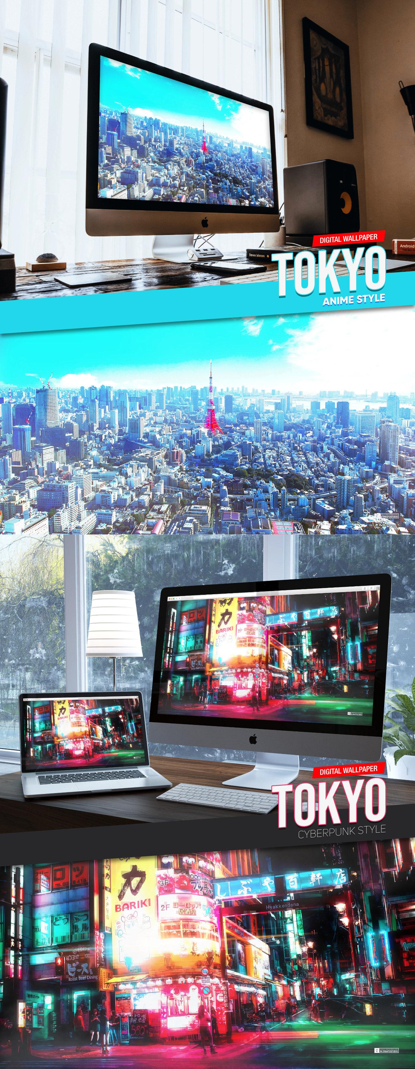 anime Cyberpunk Digital Art  japan JAPON photo edition tokyo wallpaper