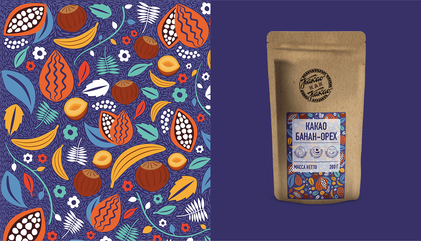 Natural cacao with real nuts and pieces of dried banana.