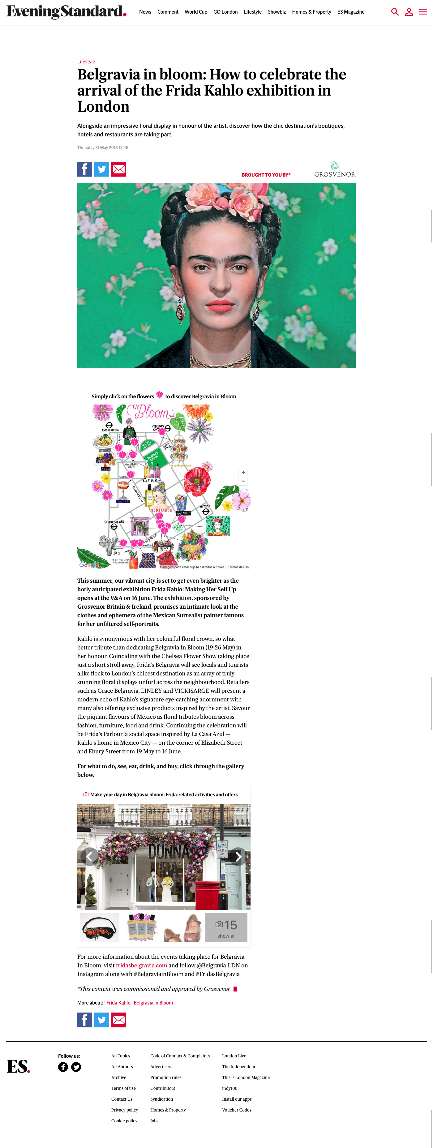 Evening Standard Belgravia in Bloom - Frida Kahlo exhibition map grosvenor interactive map