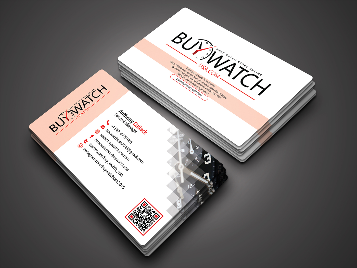 Modern business card for buywatchusa on behance both cards in a close view mockup reheart Images