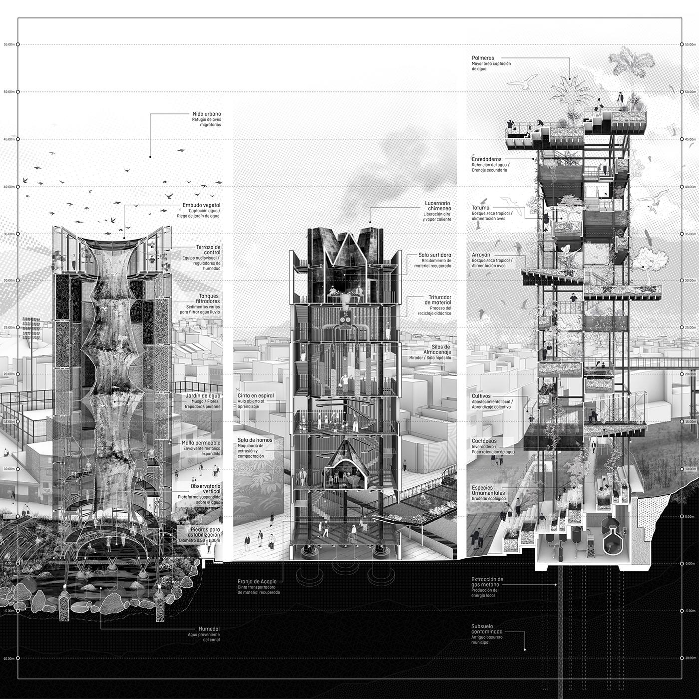 artifact garden Hypercluster infrastructure medellin Memory Moravia recycling tower vertical