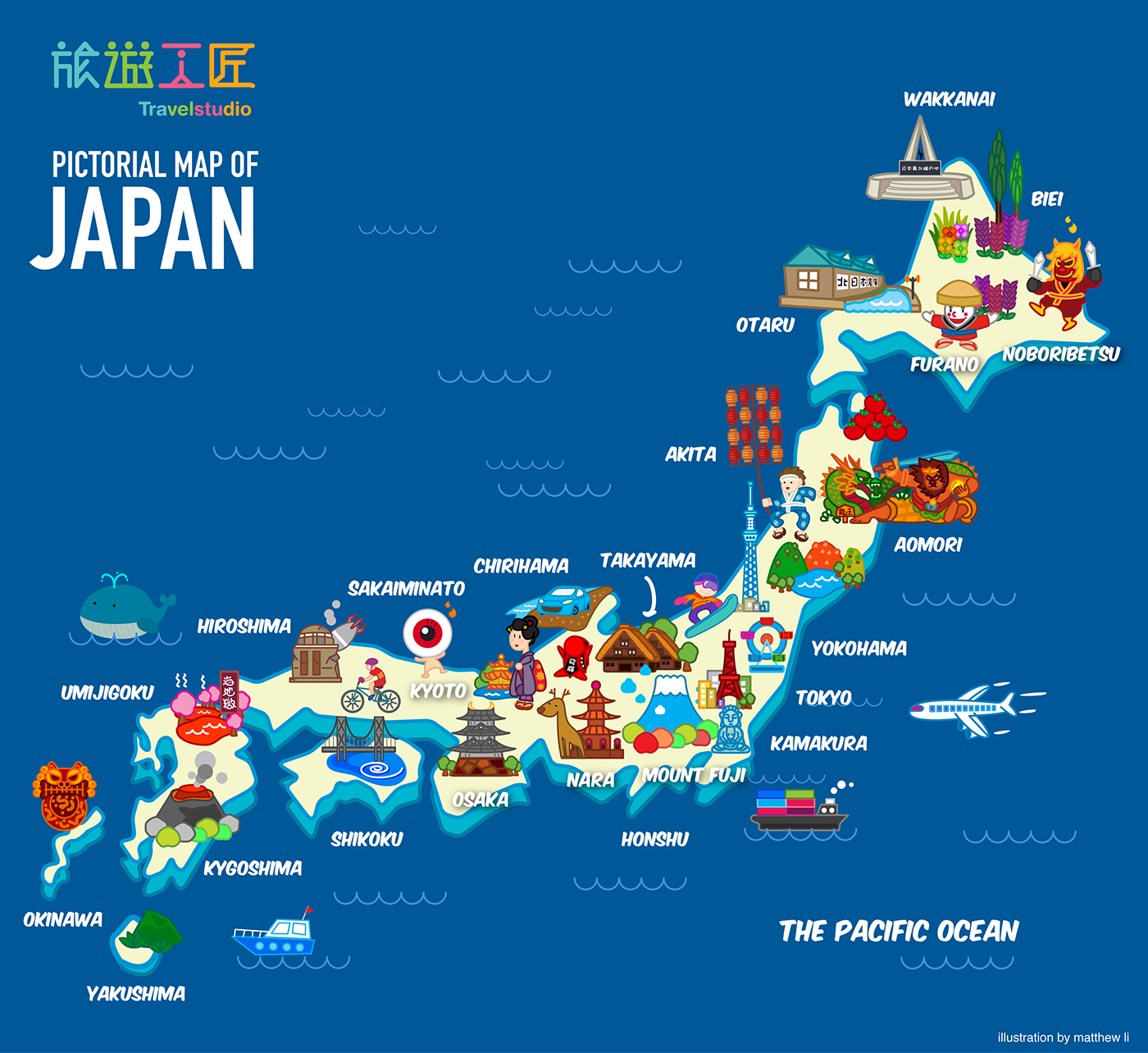Pictorial Map of Japan on Behance