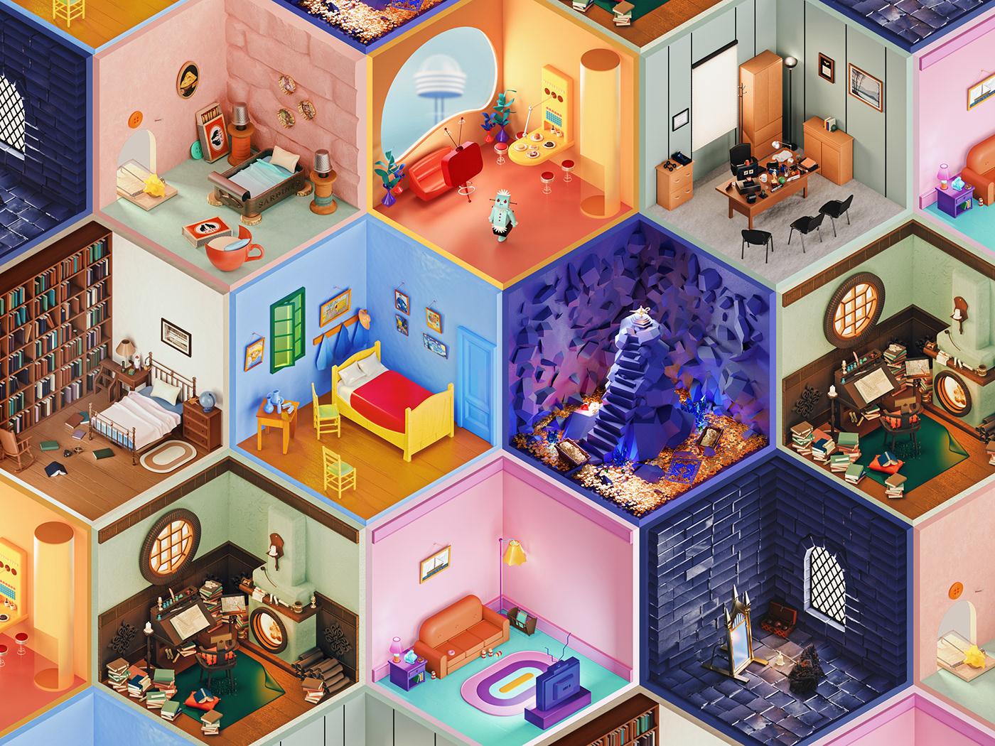 Image may contain: cartoon, indoor and wall