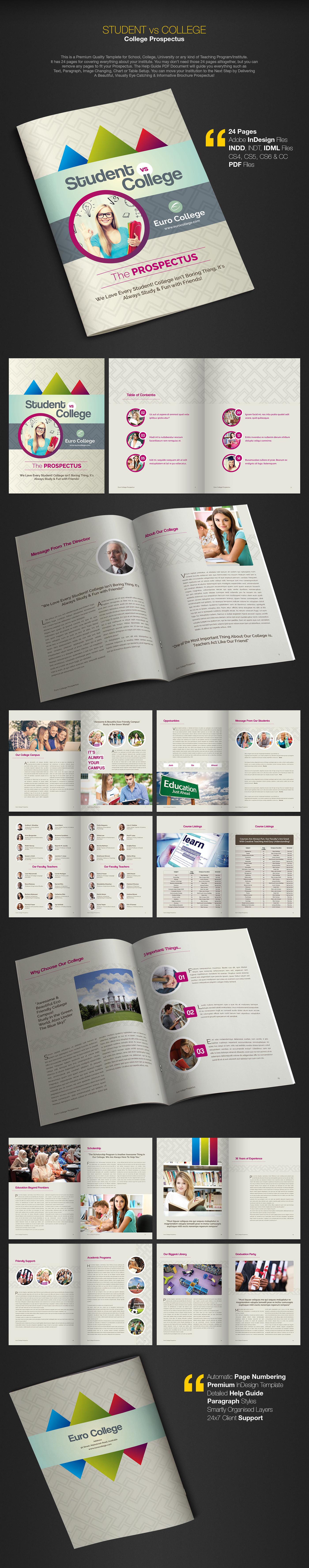 student vs college college prospectus brochure on behance
