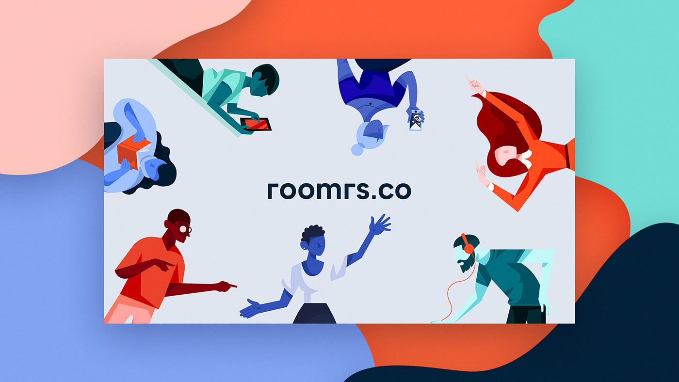 design illustrations branding  brand identity Fun co-living realestate home motion