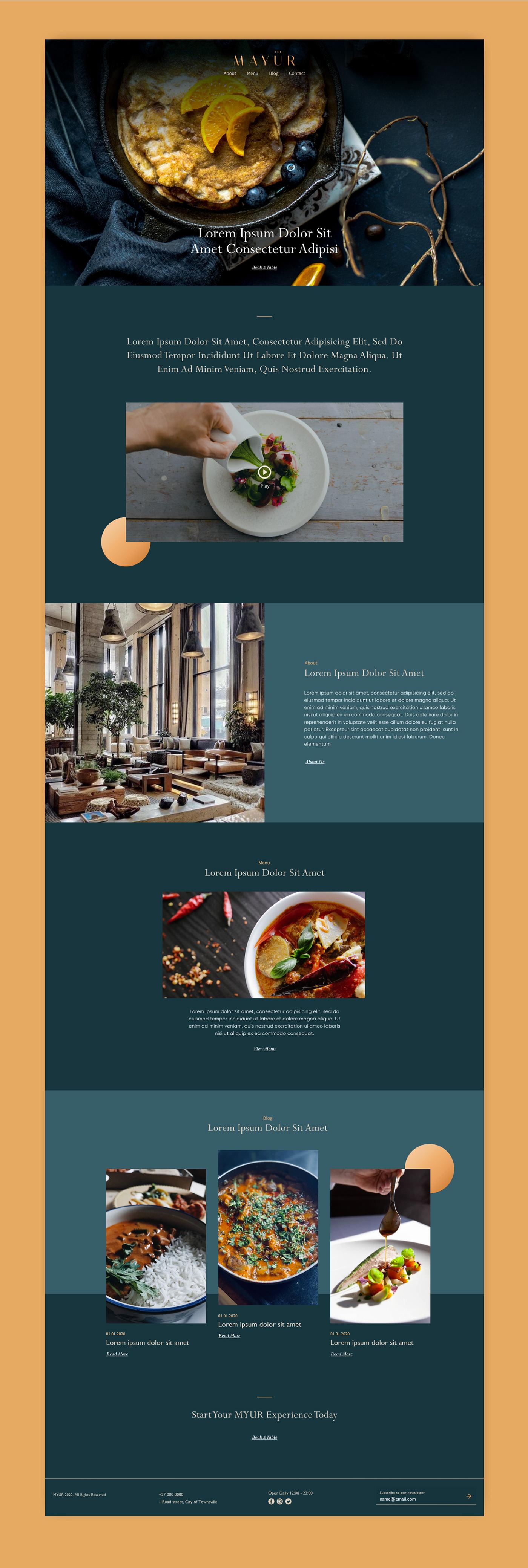 Food  landing page luxury premium restaurant UI UI/UX ux Website Website Design