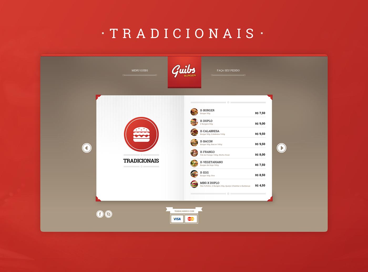 guibs burger eduardo garcia Webdesign menu Food  red hamburber