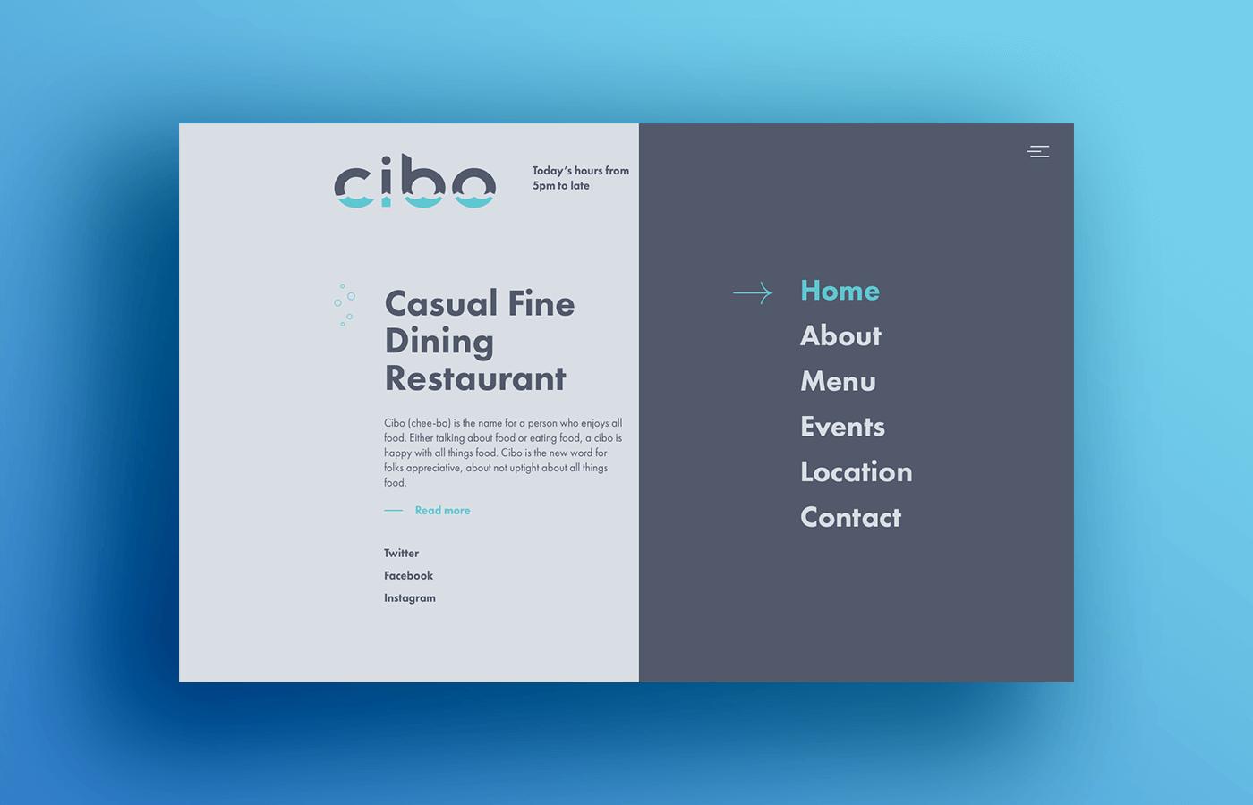 logo branding  website interaction menu restaurant