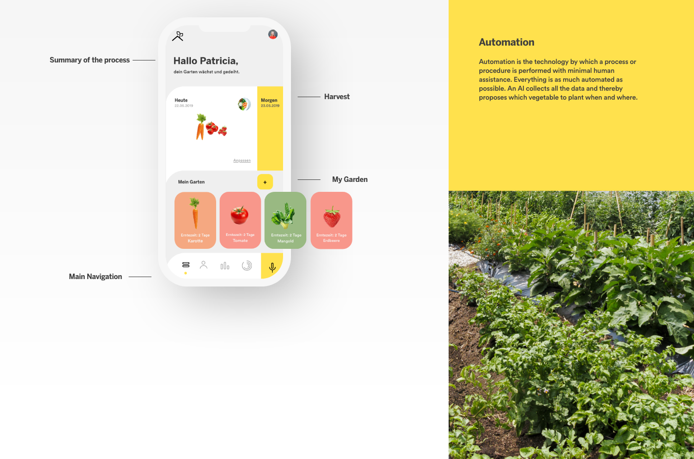 Appdesign user experience drones vegetable rooftops interfacedesign recipes Health Data profil