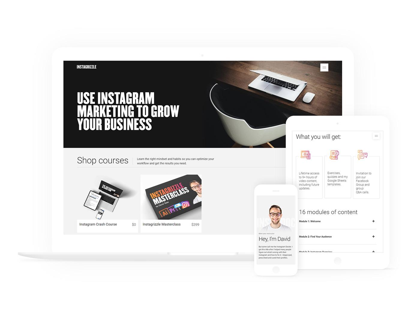 course instagram landing page personal website teacher user interface Webdesign Website content marketing