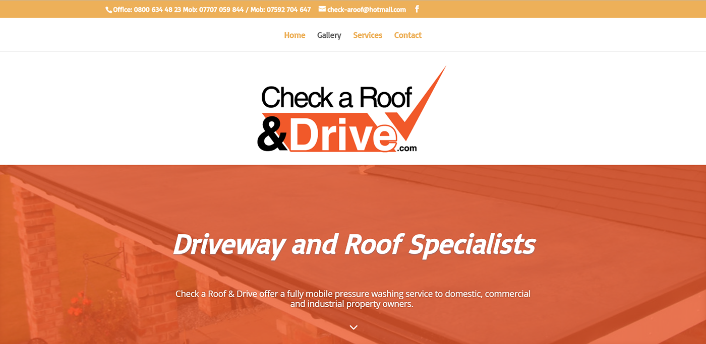 roofing Website orange UI ux design