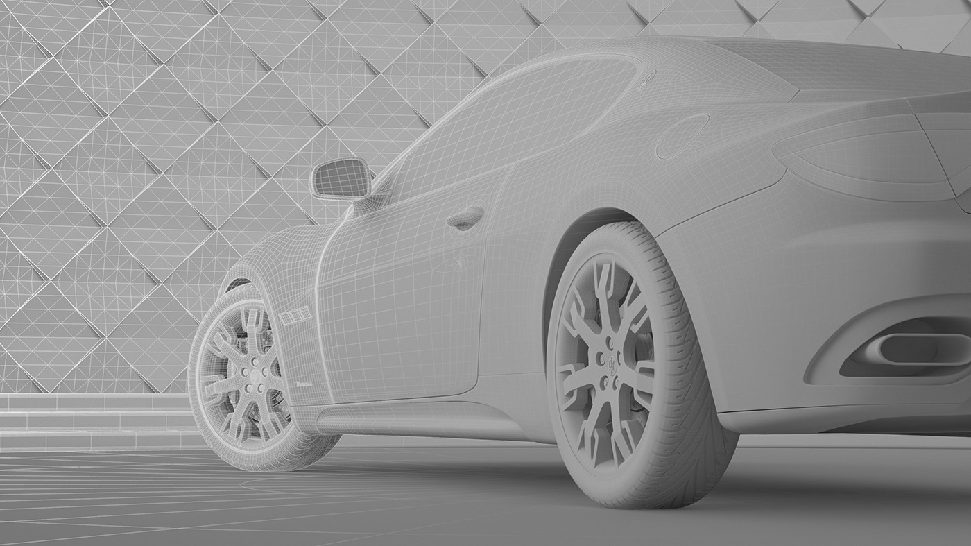 3D CGI vray Maserati GT automotive   maserati car Visualising sports car
